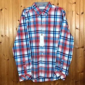 NWT 7Diamonds Red, White, & Blue Men's Plaid Shirt